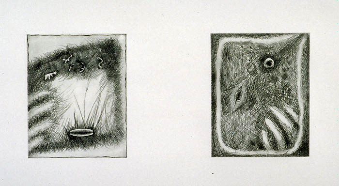 Drawings, Etchings, Collage photograph. An etching I did in college.