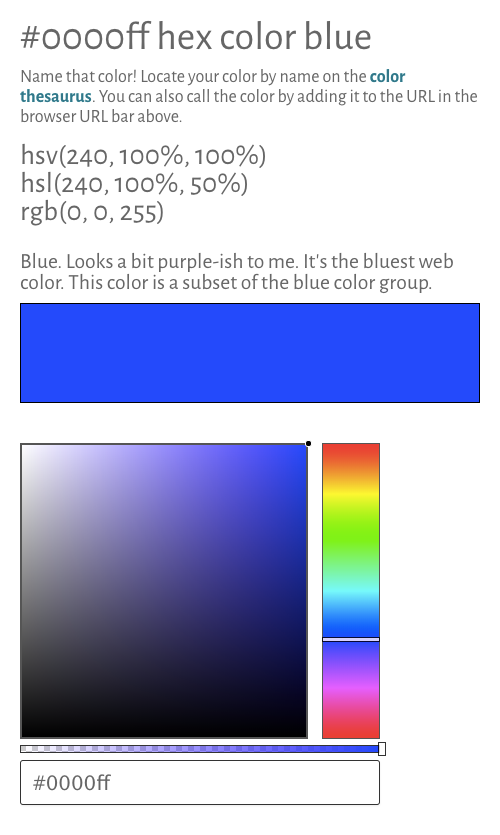 hex and rgb color picker