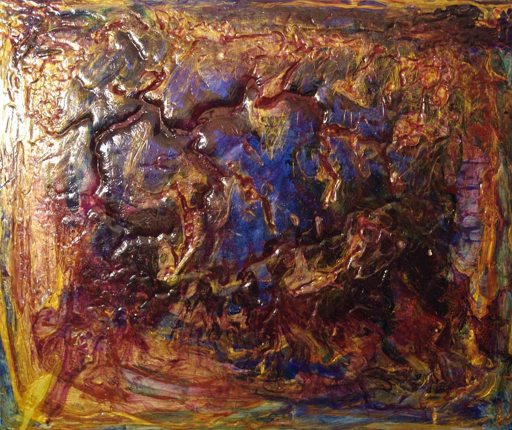 dark red and yellow abstract painting