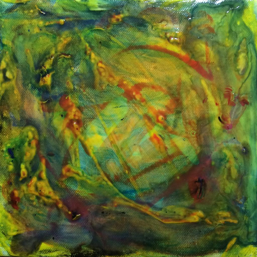 green yellow and red abstract acrylic painting