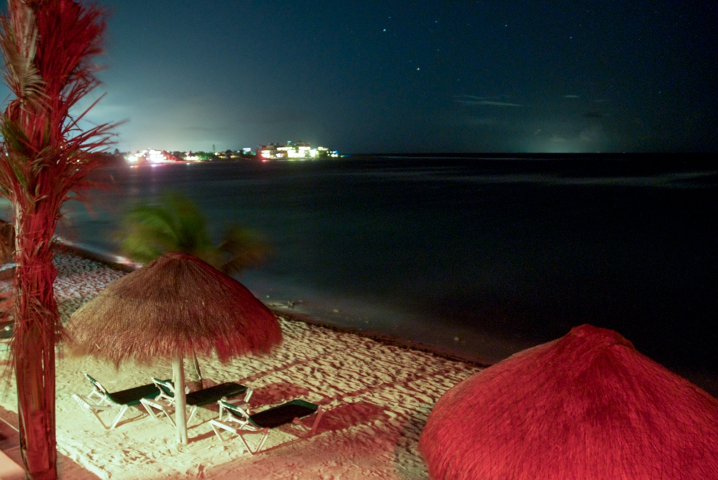 The beach at Akumel in the Yucatan peninsula, Mexico, at night