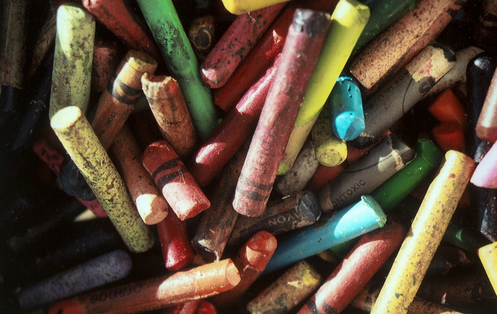 Crayons, old and unpeeled