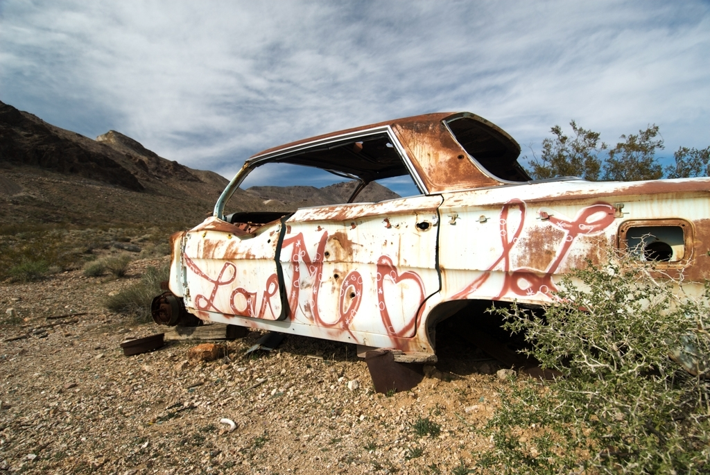 abandoned car in Death Valley